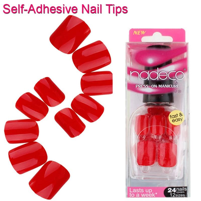 12Sets Full Cover Red Self Adhesive Fake Nail Polish Tips Colorful Glued Acrylic Nails Artificial Fake