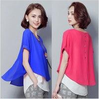 Korea Style Women Summer Fashion Loose Plus Size Short Sleeve Faux 2Piece Blouses Female New Casual