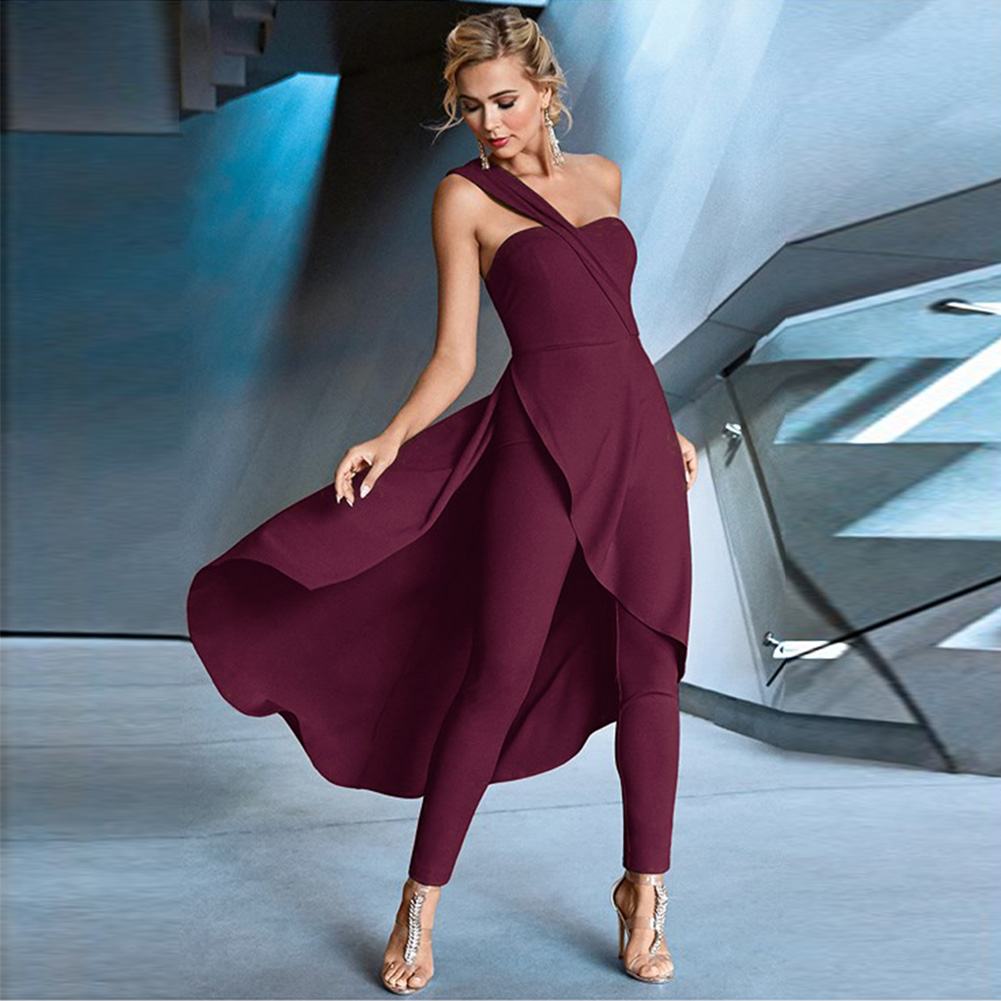 Women Sleeveless   Jumpsuit   Large Swing Fashion Unique Wedding Slanted Shoulder Spring Polyester Dinner Solid Holiday Casual