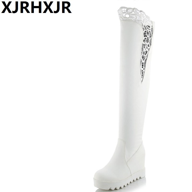 XJRHXJR Fashion Hot Sale New Arrive Women Boots Black White Wedge Over-the-knee Boots Slip On Autumn Winter Ladies High Boots hot 2017 new fashion sweet womens high boots spring autumn ladies over the knee boots casual women boots for women t26 1