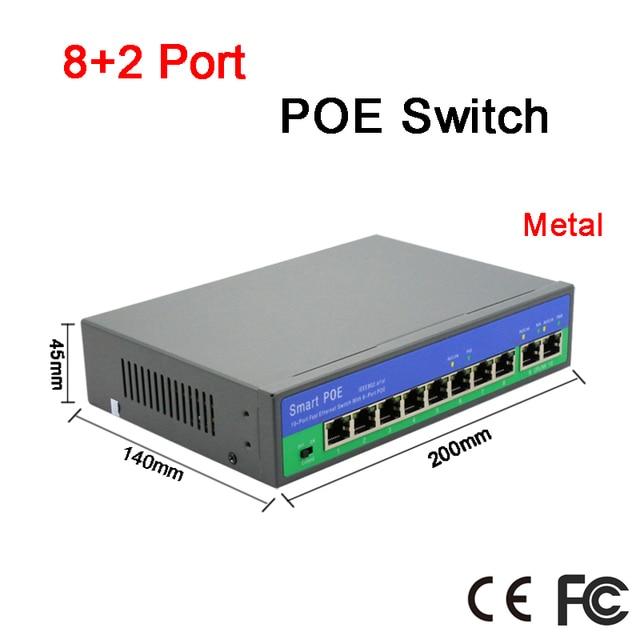 Chất Liệu Kim Loại 150 M Khoảng Cách Truyền Dẫn 10 Cổng 6 Port PoE Cho PoE IP Miễn Phí Vận Chuyển