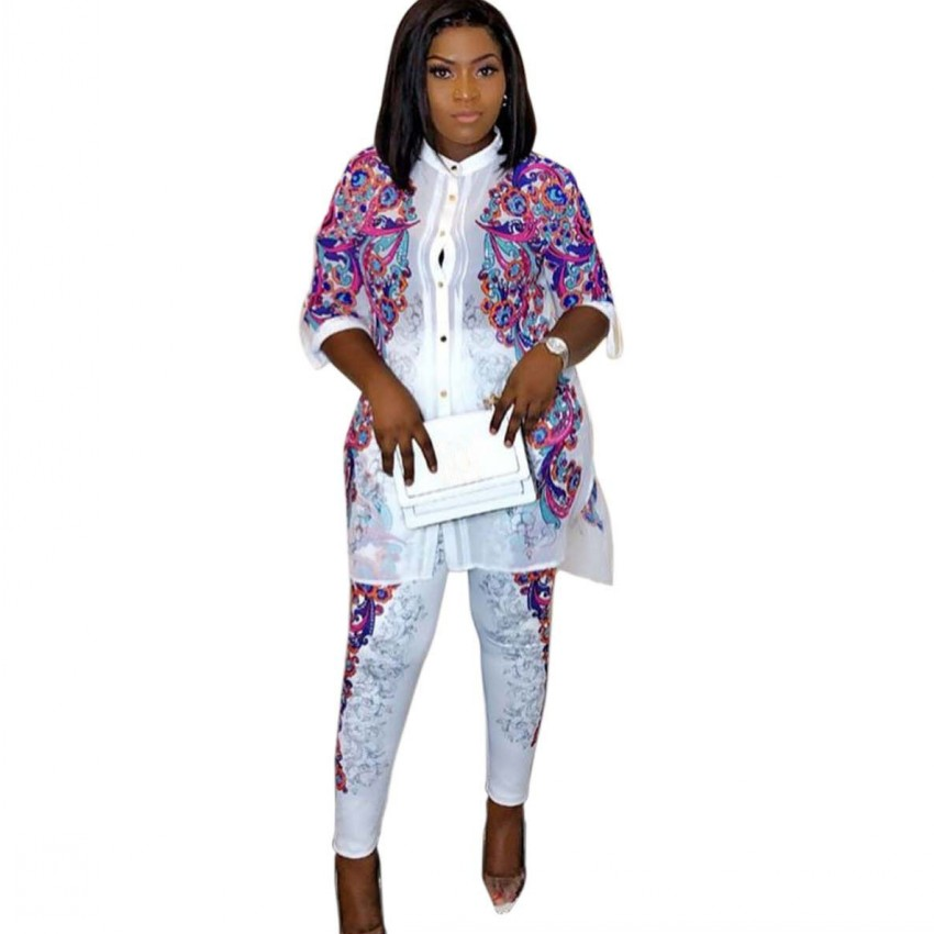 Women Two Piece Set 2019 Winter Spring Long Sleeve Africa Print Hot Drilling Tracksuit Shirt+ Pant Set Sportswear Outfits Suit