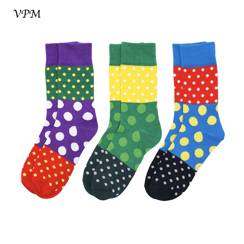 VPM 3 Pairs/Lot Combed Cotton Men Crew Socks Autumn Winter Good quality Colorful Stripe Dot Long Business Sock for Male