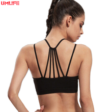UMLIFE Sexy Spaghetti Strap Sports Bra Women Seamless Running Yoga Gym Fitness Bra Quick Dry Padded Push Up Workout Tank Tops