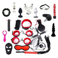 22Pcs/Set PU Leather BDSM Bondage Anal Plug Masturbation 5M Rope HandCuffs Whip Rope Restraint for Couple Sex Toys For Woman