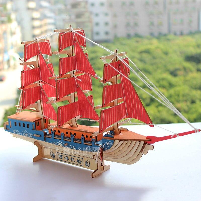New Assembling Building Kits Ship Model Wooden Sailboat Toys Harvey Sailing Model Assembled Wooden Kit DIY gift games puzzle