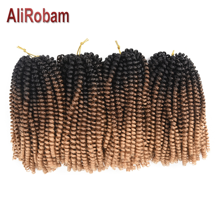 AliRobam Crochet Braids Ombre Brown Color Spring Twist Braid Synthetic Hair Extensions Fiber Kinky Curly Twists 8 inch