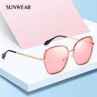 cbd077956 SUNWEAR Brand 2019 Vintage Metal Polarized Ladies Sunglasses Big Irregular  Pink Black Women Sun Glasses Gradient. Senhoras Óculos ...