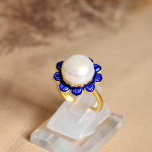 S925 silver Cloisonne jewelry wholesale pearl ring new female flower