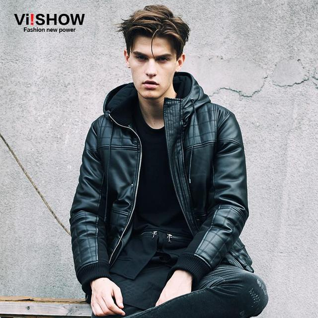 VIISHOW brand 2016 autumn/winter new coat men fashion Pu leather motorcycle jacket padded leather jacket