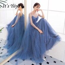 Its YiiYa Evening Dress V-neck Shining Spaghetti Strap Royal Blue Party Gowns Floor Length A-line Sleeveless Prom Dresses E001