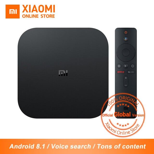 Phiên Bản toàn cầu Tiểu Mi Mi Hộp S 4 K HDR Android TV Box Strea mi ng Chơi Phương Tiện Google Trợ Lý IPTV thuê bao Smart TV Box S