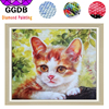 GGDB 5D DIY Diamond Painting Lovely Cat Handmade Full Square Diamond Embroidery Complete Drill Resin Pattern