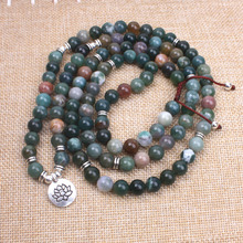 Women necklace 108 Natural stone onyx mala necklace meditation yoga jewelry Handmade OM lotus Buddha Charm Pendant necklace