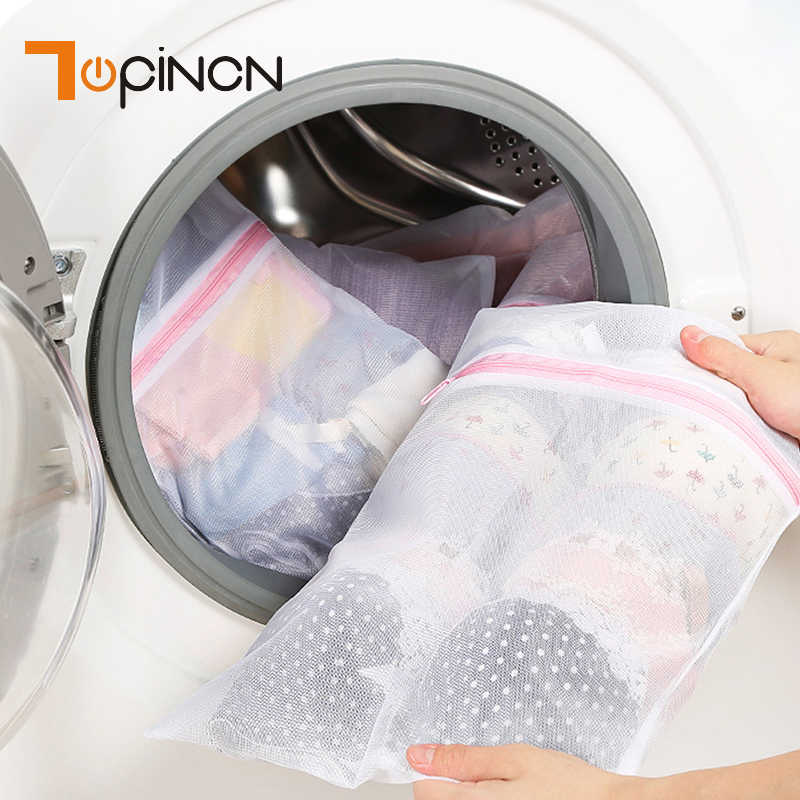 9 Sizes Zippered Foldable Nylon Laundry Bag Bra Socks Underwear Clothes Washing Machine Protection Net Mesh Storage Bags