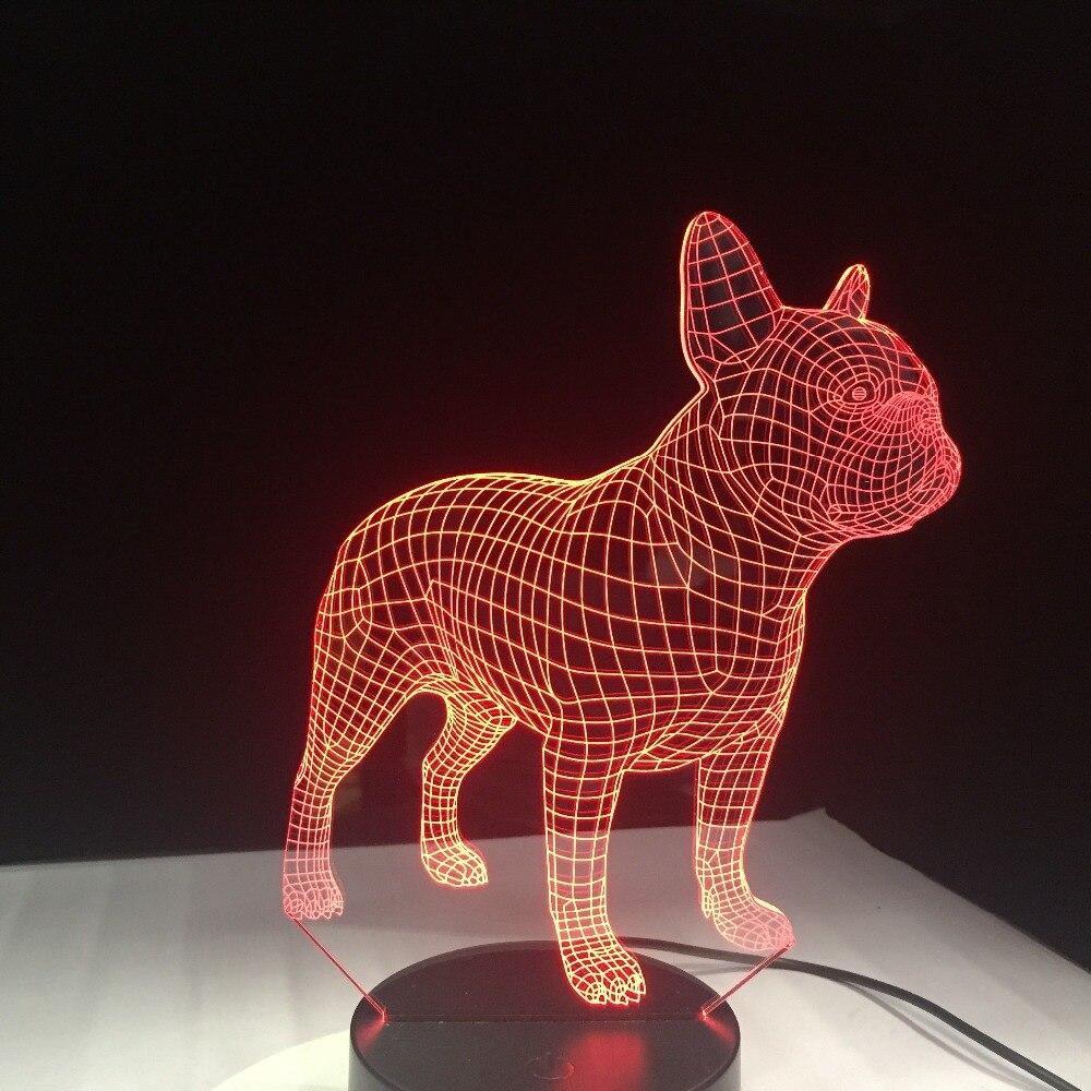 Bouledogue Francais 3d Led Lampe De Nuit 7 Couleurs Usb Hologramme