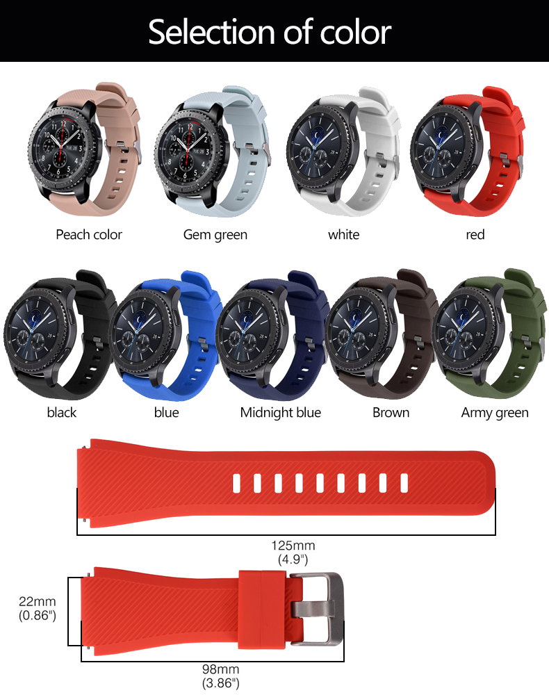 Silicone Watchband for Samsung Gear S3 Classic Frontier 22mm Silica gel Watch Band S 3 sport Strap Replacement Bracelet