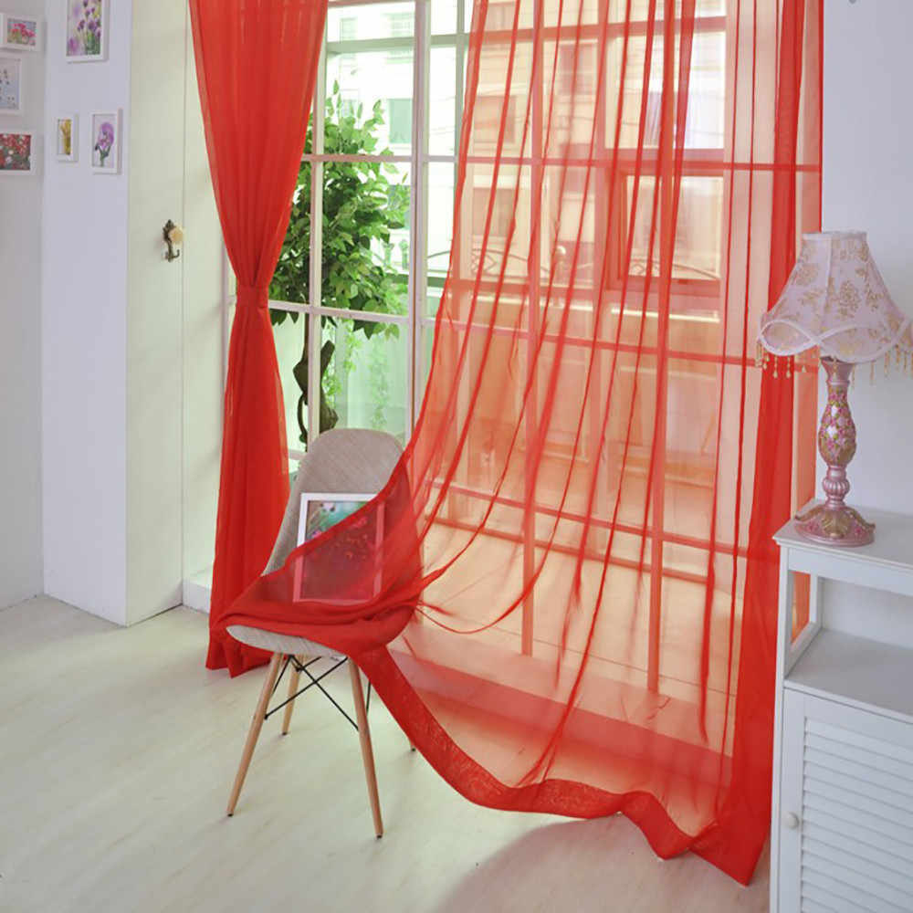 European and American style curtains for living room white Window Screening Solid Door Curtains Drape Panel Sheer Tulle new