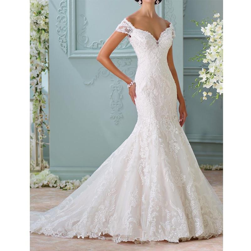 Vnaix W3481 Off the Shoulder Mermaid Wedding Dresses Long Illusion ...