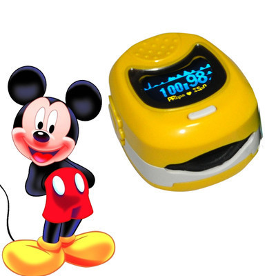 CMS50QB Color  Display Yellow Portable Handheld Pediatric Fingertip SPO2, Pulse Rate Pulse Oximeter