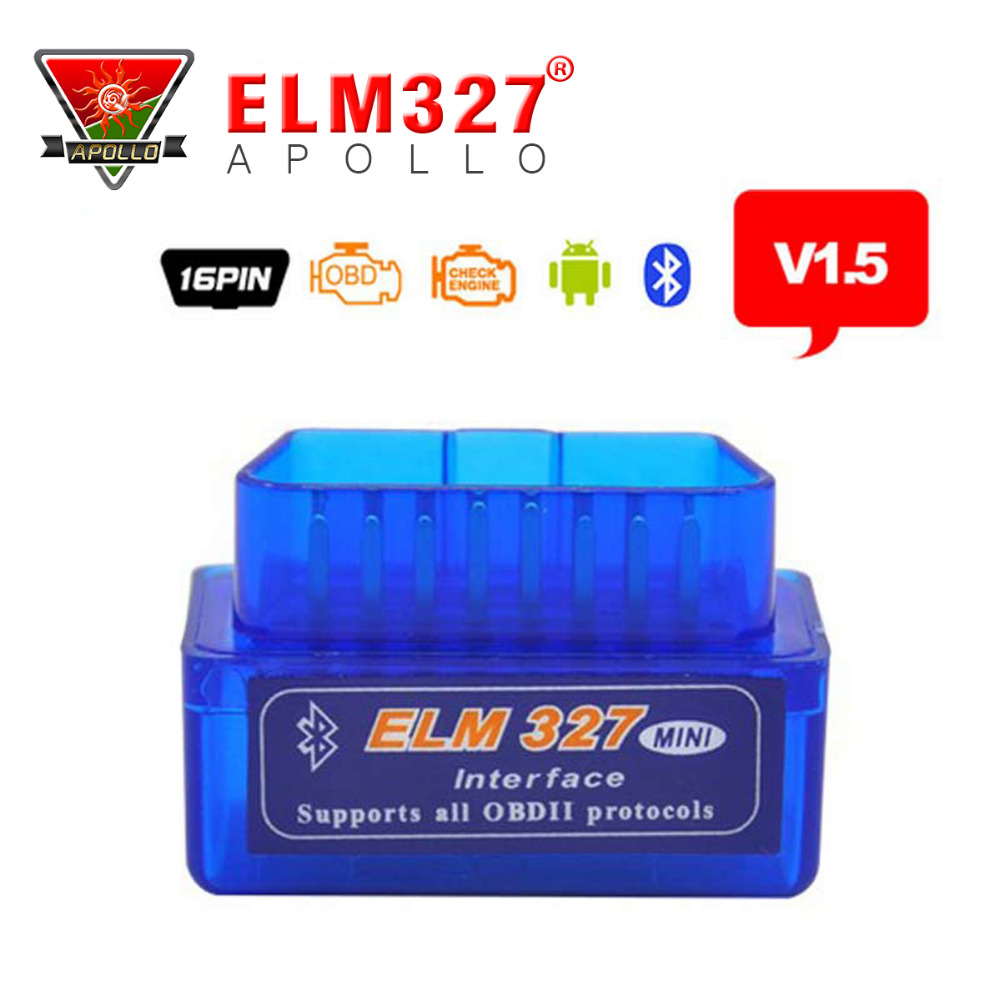 цена на 2017 A+ Quality Mini Tester OBD 2 Auto Diagnostic Scanner Newest Original V1.5 Super Mini ELM327 OBD2 OBD II Bluetooth ELM 327