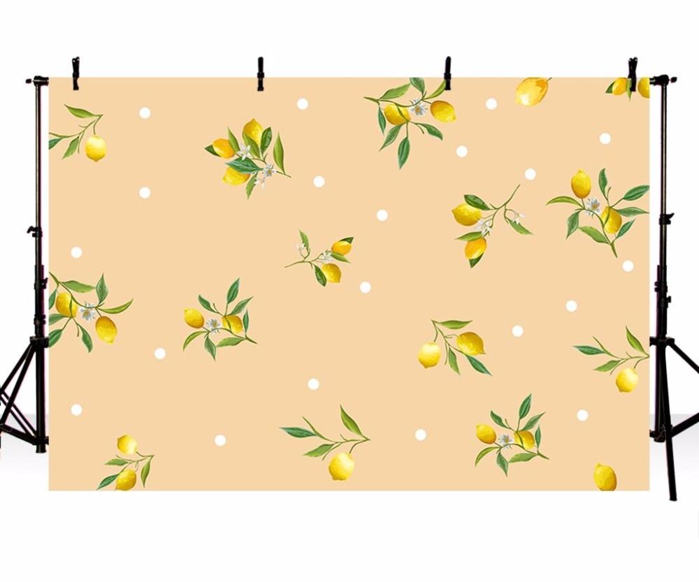 Vinyl Photography Background Cartoon Illustration Lemon White Dots Baby Birthday Children Backdrops for Photo Studio LV-053