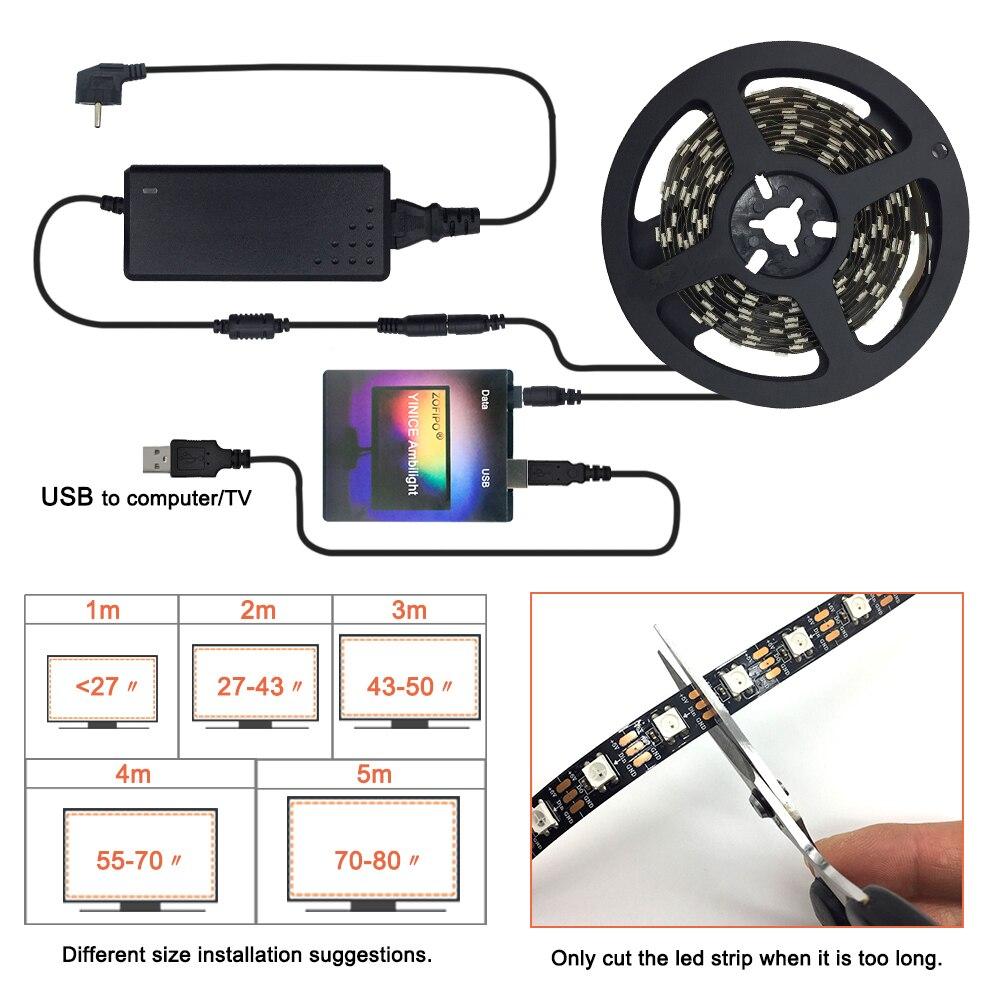 Ambilight DIY HDTV TV Desktop PC Screen USB LED-Streifen Set Backlight WS281 Neu