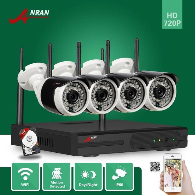 4ch vigilância wi-fi nvr anran 720 p p2p plug and play sem fio IR Ao Ar Livre À Prova D' Água de Rede IP Sistema de Câmera De Segurança Com 1 TB HDD