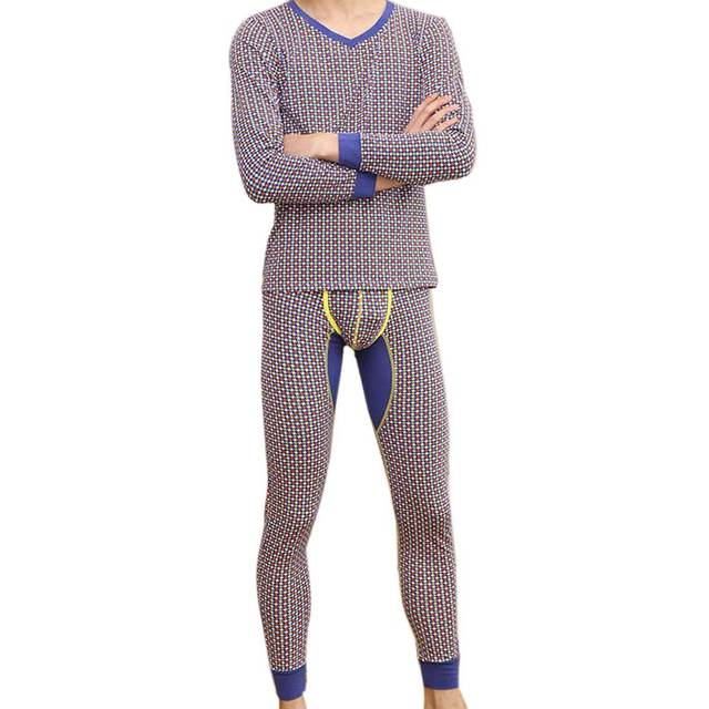High Quality Winter Underwear Sets Suit For Men Long Johns Modal Cotton Sleepwear Star Pajama Penis Pocket Underwear Plus Size