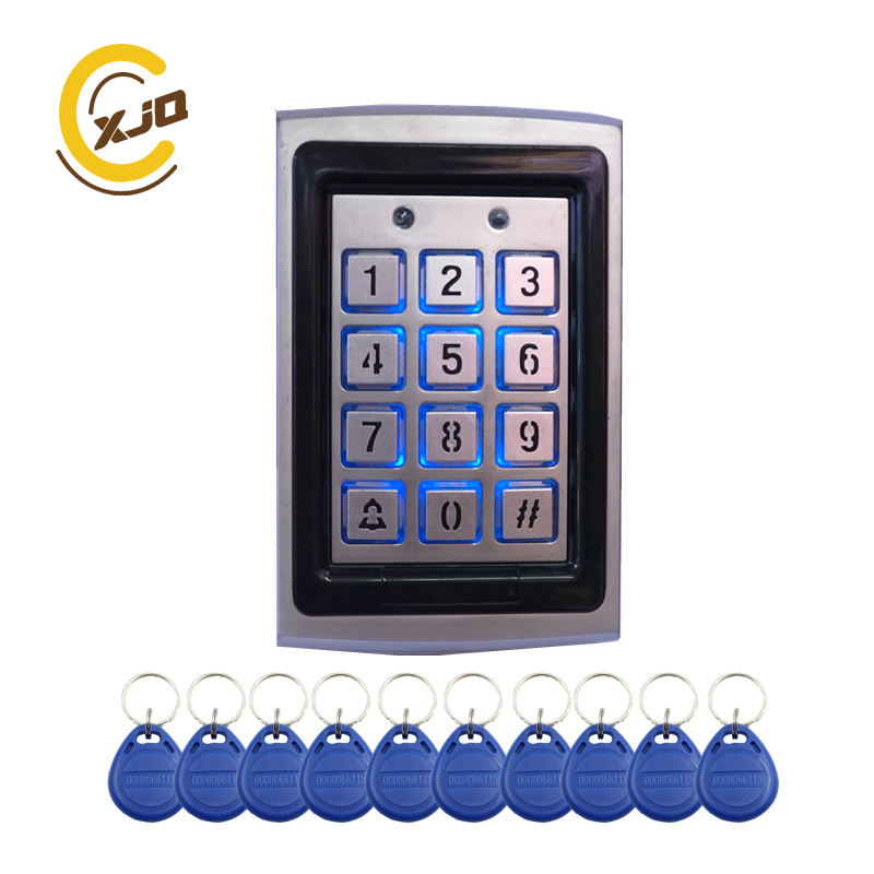 Image 2 - Hot sale ! XJQ Rfid Metal Access Control Keypad with blue back light Office Door Access Controller +10pcs 125KHz Keyfob cardsAccess Control Keypads   -