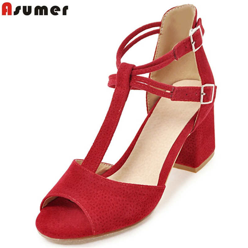 Asumer 2017 new arrive women sandals fashion peep toe summer shoes elegant flock high heels shoes  solid big size 34-48 new 2017 spring summer women shoes pointed toe high quality brand fashion womens flats ladies plus size 41 sweet flock t179