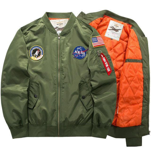Осень И Зима Толстые мужские США НАСА Военно-Воздушной MA-1 бомбардировщик Куртки Мужчины Марка одежды Куртки Армия Куртка и Пальто 6XL