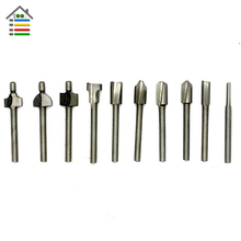 New 10pcs 1/8 3mm Shank HSS Router drill Bits Wood Cutter Milling Fits Dremel Rotary Tool Set for metal Metalworking