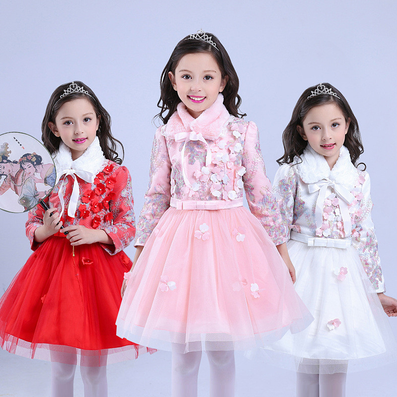 Winter Flower Girl Dress Pearl Floral Formal Wedding Pageant Party New Year Princess Plus Warm Dresses Children Clothes 8 Yeas summer 2017 new girl dress baby princess dresses flower girls dresses for party and wedding kids children clothing 4 6 8 10 year