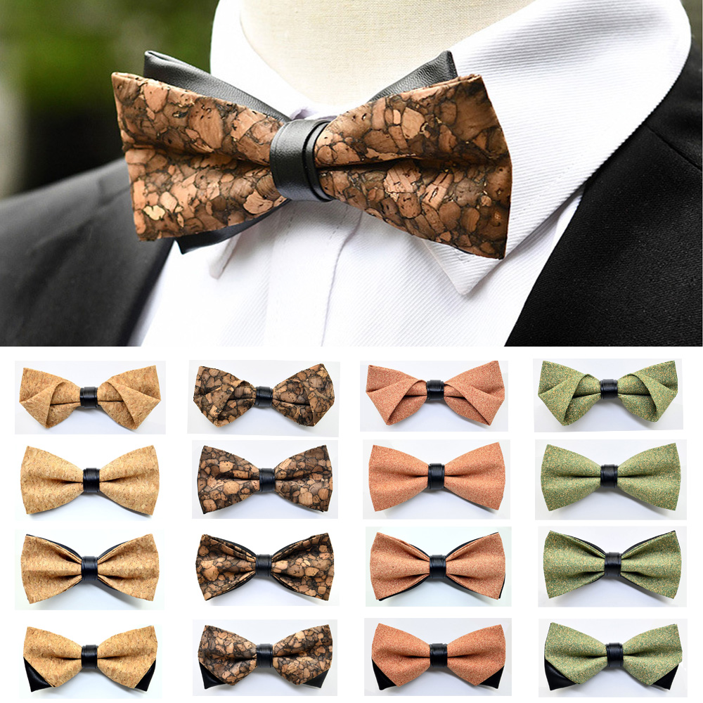Men Trendy Bow Tie Pre-tied Bowties Wedding Party Accessories Cork Wood Bow Ties BWTRS0331