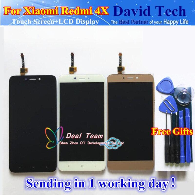imágenes para Cristal de la Pantalla táctil Y LCD Display Asamblea Del Digitizador Para Xiaomi Redmi 4X Teléfono Inteligente Negro Blanco del Color del Oro Envío Gratis