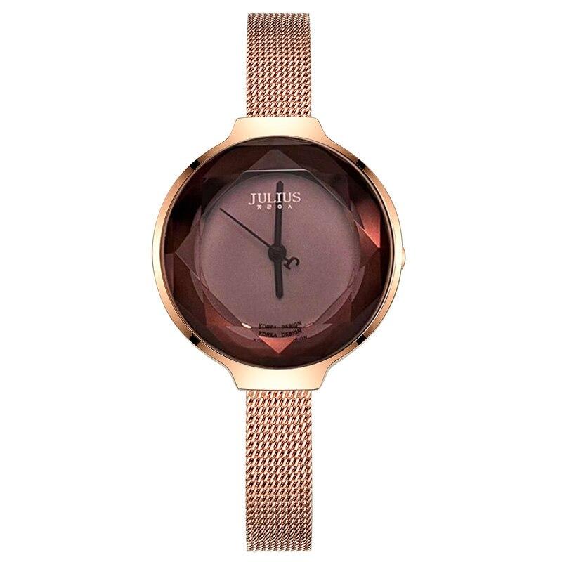 Élégant coupe verre acier inoxydable montre pour femme japon Quartz heures mode horloge Bracelet fille cadeau d'anniversaire boîte Julius
