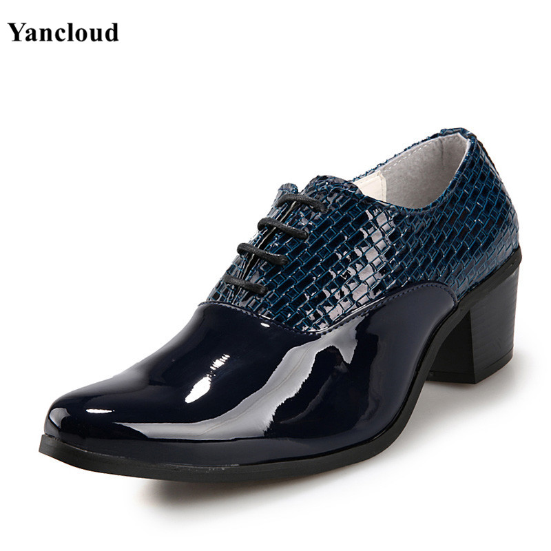 Mens Lace up Patent Leather Pointed Toe Dress Shoes Small Plaid Oxford Shoes for Men White Blue Height Increase Wedding Shoes
