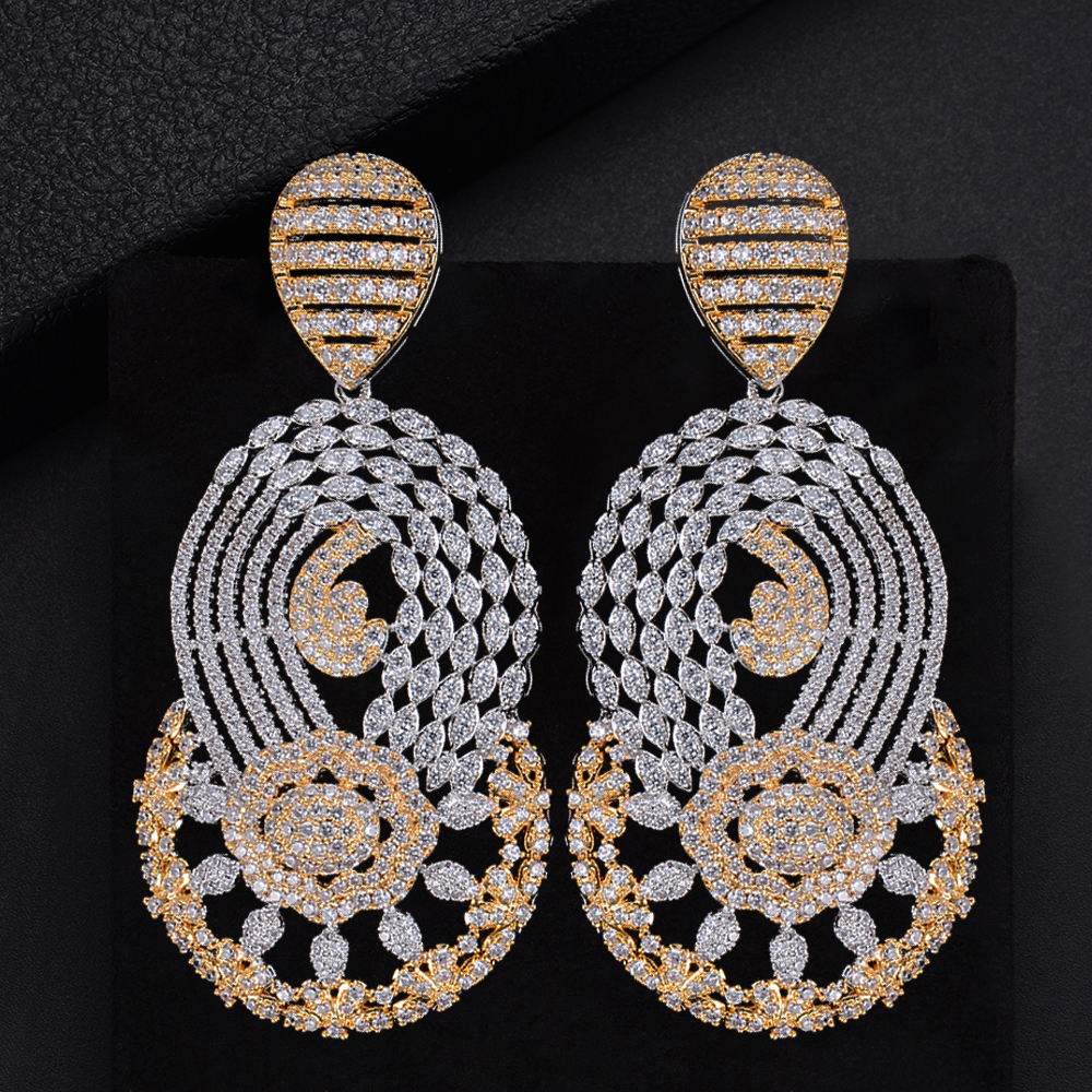 64mm Trendy Geometric Drop Pierced Hollow Full CZ  Drop Dangle Earrings For Girls Women Party Wedding Wear
