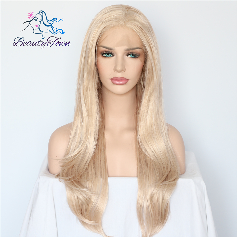 BeautyTown Blonde Beige Natural Wave Heat Resistant Hair White Women Daily Makeup Wedding Party Gift Synthetic Lace Front Wigs-in Synthetic Lace Wigs from Hair Extensions & Wigs