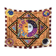 "Sun and Moon Tarot Psychedelic Tapestry Polyester Fabric Indian Hippie Bohemian Print Home Decor Wall Hanging Tapestry 59"" x 51""(China)"