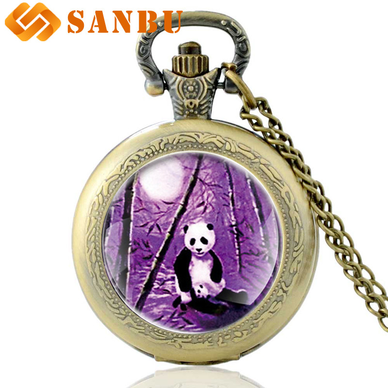 Vintage Chinese Giant Panda Necklace Watches Vintage Bronze Men Women Quartz Pocket Watch Cute Jewelry Gifts