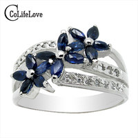 luxurious silver gemstone ring 15 pcs natural sapphire ruby ring solid 925 silver ruby ring sapphire silver jewelry for woman