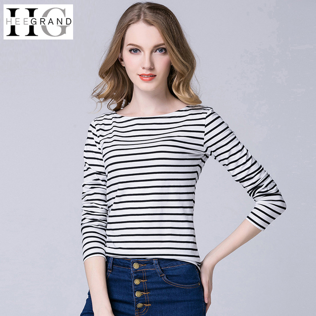 30724ba790f3fc HEE GRAND Women Tops Square Neck T-Shirts Full Sleeve Striped Tees  Femininas Plus Size S-4XL Basic Casual Ladies Top WTL1378