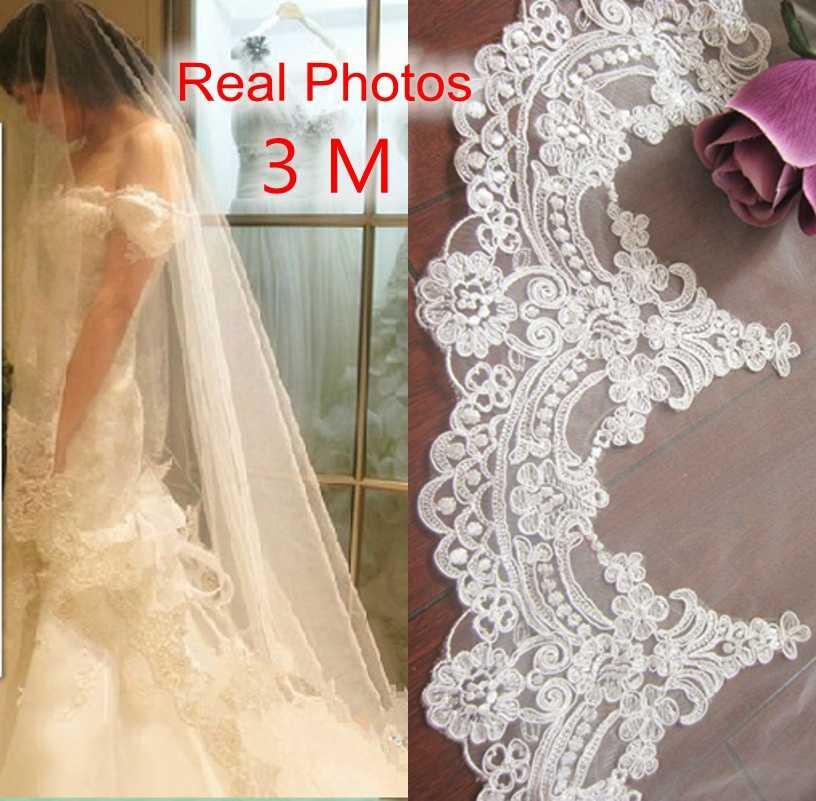 รูปภาพจริง 3M สีขาว/งาช้างที่สวยงาม Cathedral ความยาวขอบลูกไม้ผ้าคลุมหน้าเจ้าสาวด้วยหวีงานแต่งงานอุปกรณ์เสริม MD3084