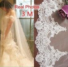 Gerçek fotoğraflar 3m beyaz/fildişi güzel katedrali uzunluğu dantel kenar düğün gelin peçe ile tarak düğün aksesuarları MD3084