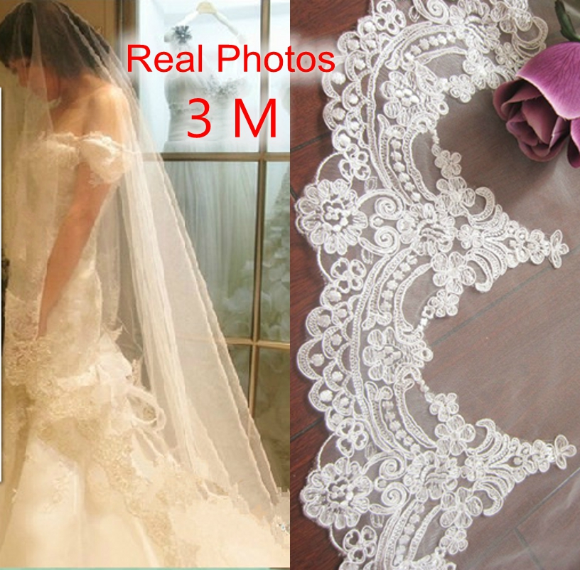 Real Photos 2018 3M White/Ivory Beautiful Cathedral Length Lace Edge Wedding Bridal Veil With Comb Wedding Accessories MD3084