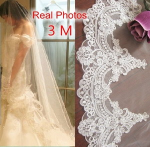 Image 1 - Real Photos 3M White/Ivory Beautiful Cathedral Length Lace Edge Wedding Bridal Veil With Comb Wedding Accessories MD3084