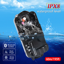 Seafrogs 60m/195ft Bluetooth Waterproof Housing Diving Phone Case Cover Bag For iPhone 6/7/8 Plus/Xs Max with Fisheye ciciber dragon ball phone case for iphone 11 pro max xr x xs max tempered glass cover cases for iphone 7 8 6 6s plus funda coque