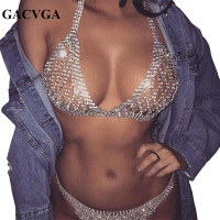 GACVGA 2017 Crystal Mesh Summer Women Crop Top Shining Tank Top Backless Vest Sexy Beach Swimsuit
